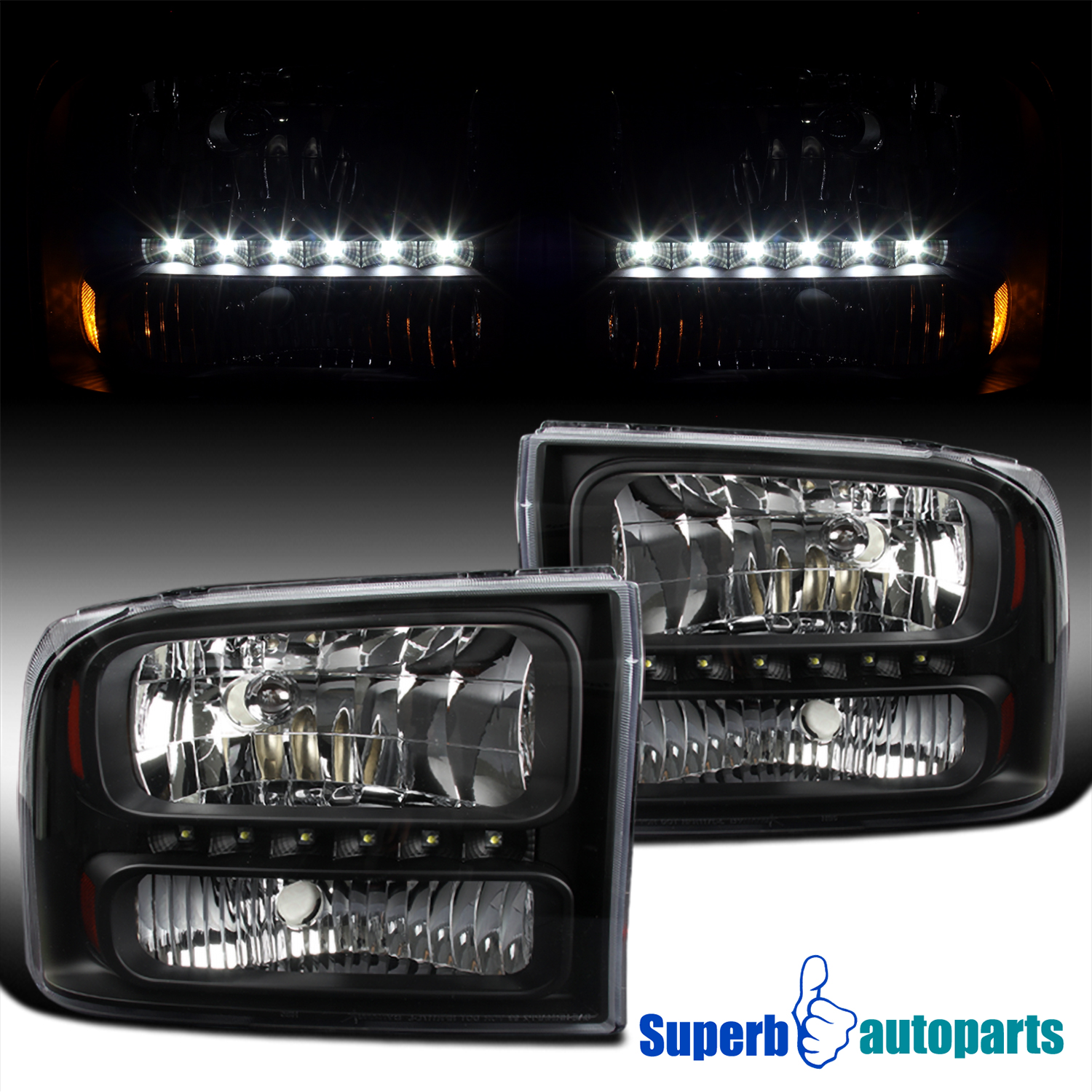 99 F350 Headlights >> Details About For 99 04 Ford F250 F350 2000 2004 Excursion 1pc Style Black Headlights