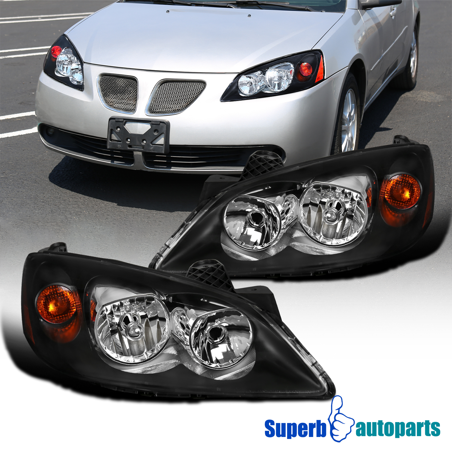 Details about 05-10 Pontiac G6 Black Headlights Replacement Turn Signal  Head Lamps Pair
