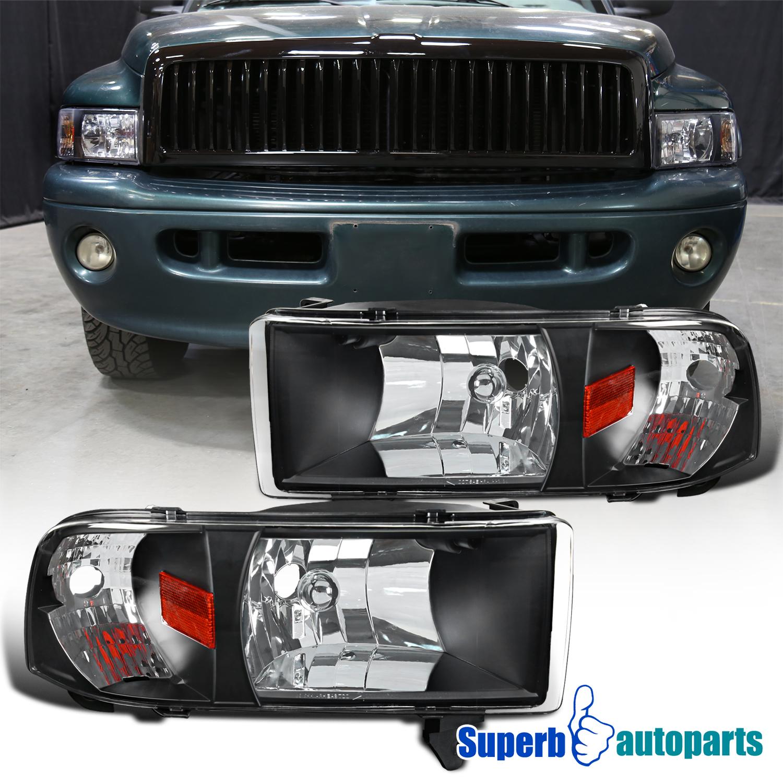 1994-2001 Dodge Ram 1500/2500/3500 1PC Headlights Black 684758599117