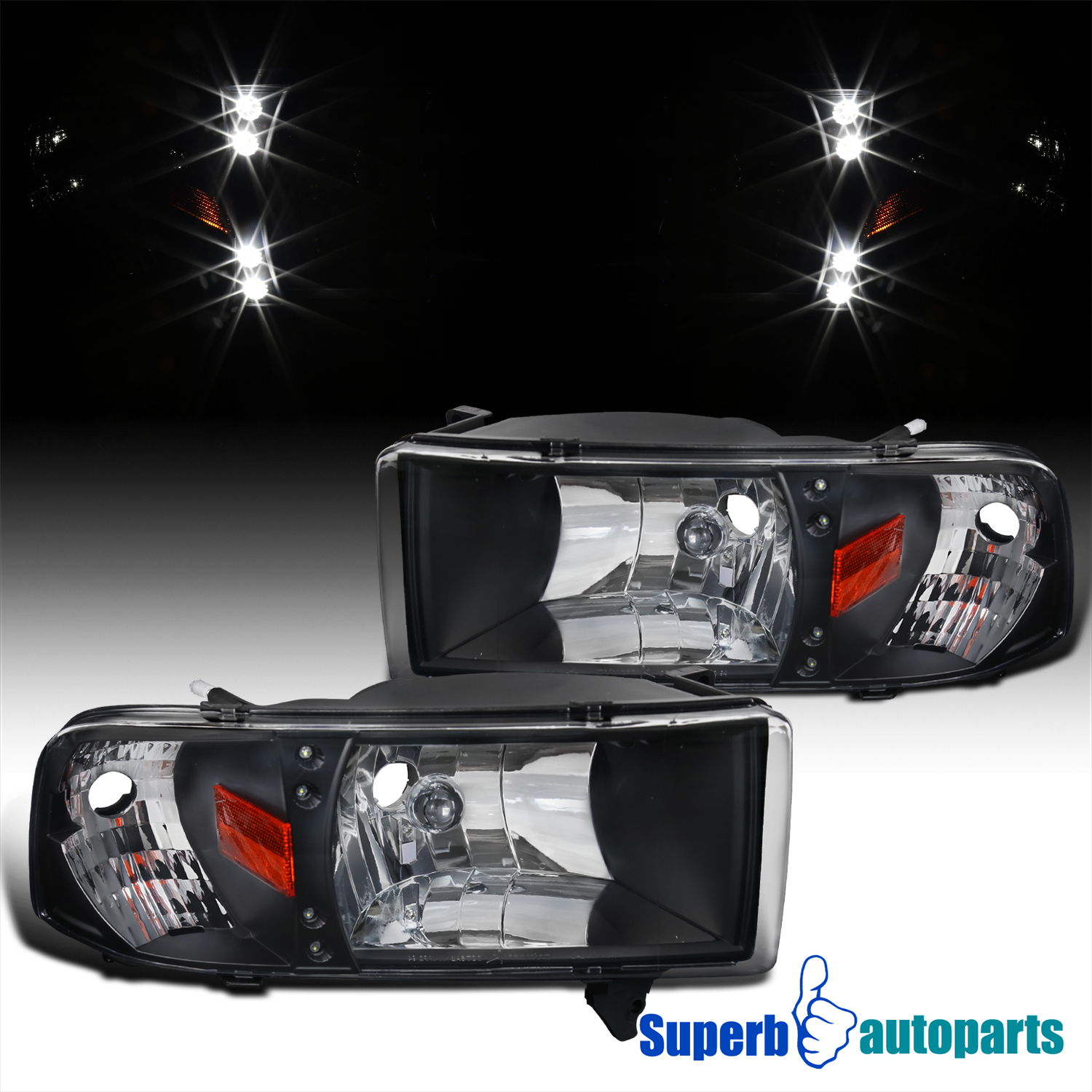 Set of One Pieces Style Black Headlights w// LED for 1994-2001 Dodge Ram Pickup