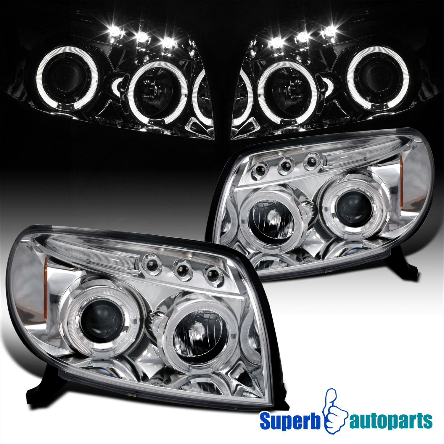Details about For 2003-2005 Toyota 4Runner LED Halo Projector Headlights  Lamps Replacement