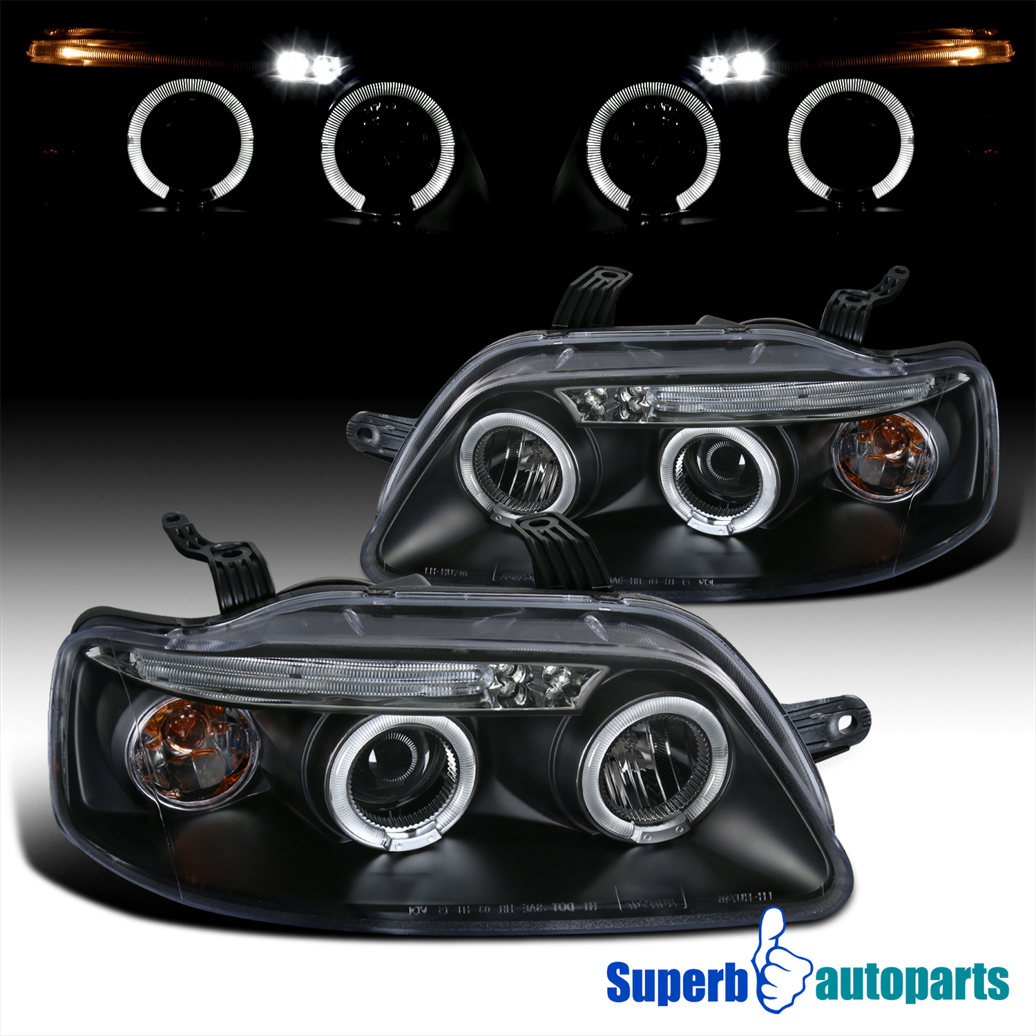 2004 2008 Chevy Aveo Led Dual Halo Projector Headlights Lamps Black