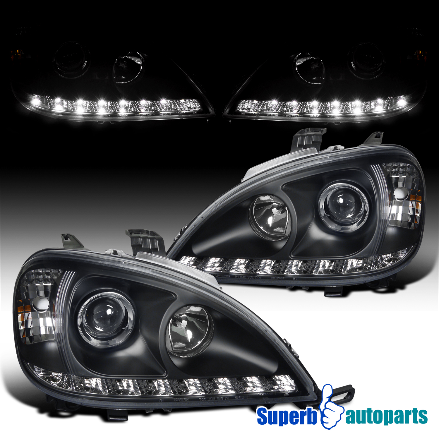 For 2002-2005 Benz W163 ML-Class LED DRL Projector