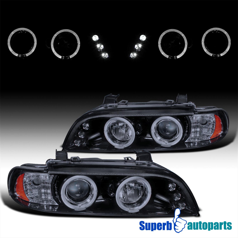 1996-2003 BMW E39 5-Series LED Dual Halo Black Smoke Projector Headlights Lamps