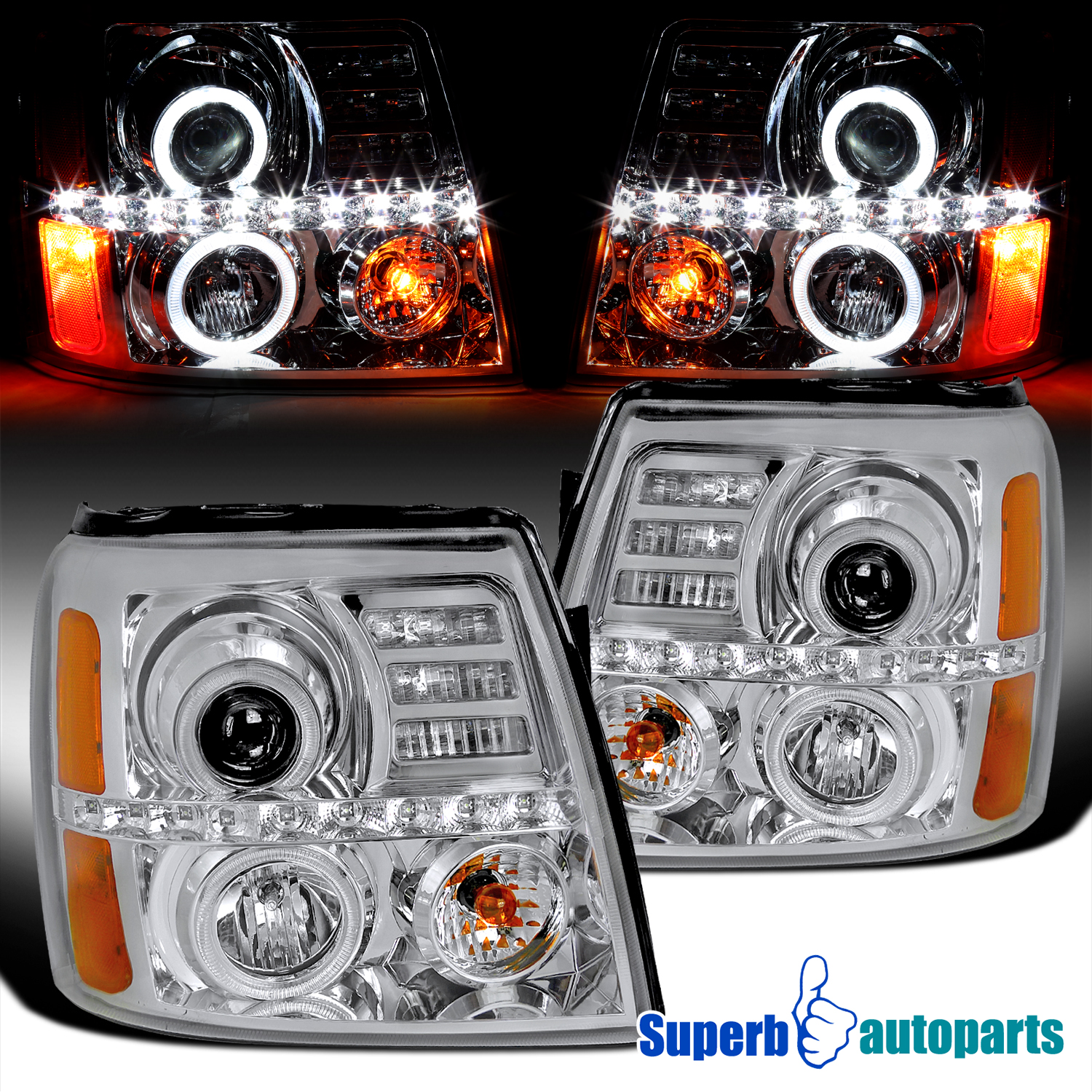 2002-2006 Cadillac Escalade LED Dual Halo Headlights Head