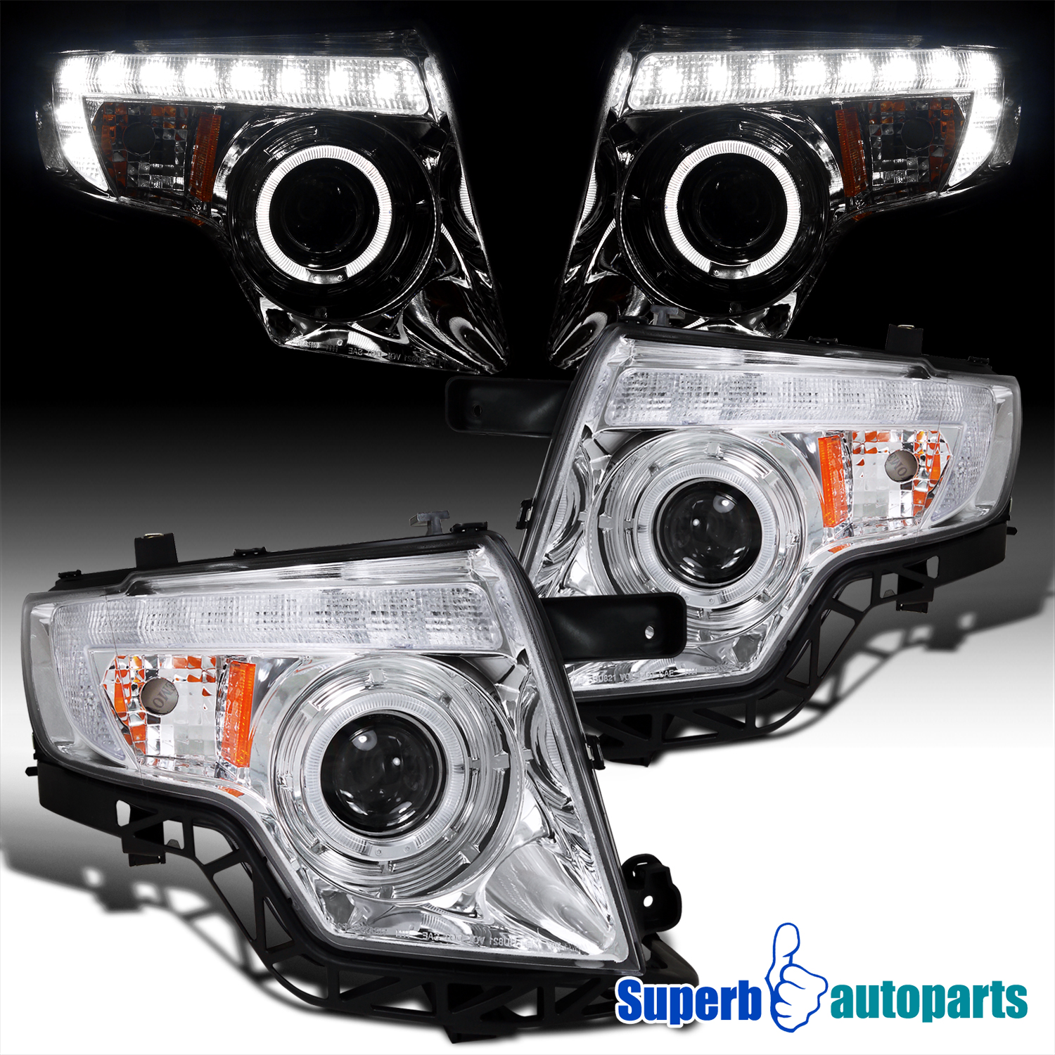 Ford Edge Projector Clear Headlights W Halo Rimled Drl Chrome Specd