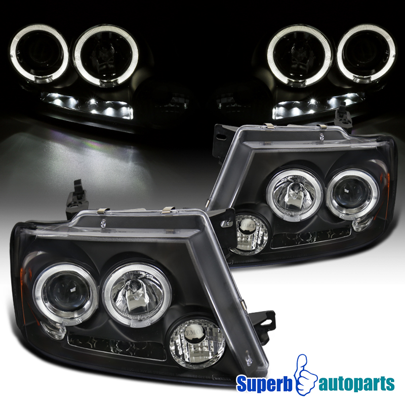2004-2008 ford f150 dual halo led projector headlights black specd