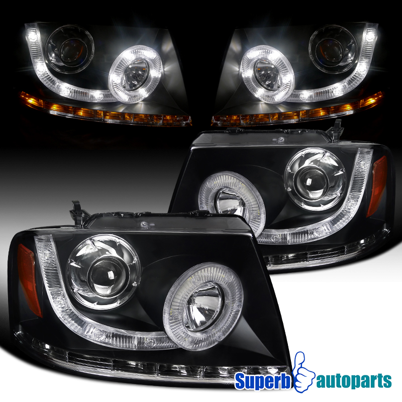 For 2004-2008 Ford F150 Lincoln Mark LT SMD LED Signal Black Projector Headlight