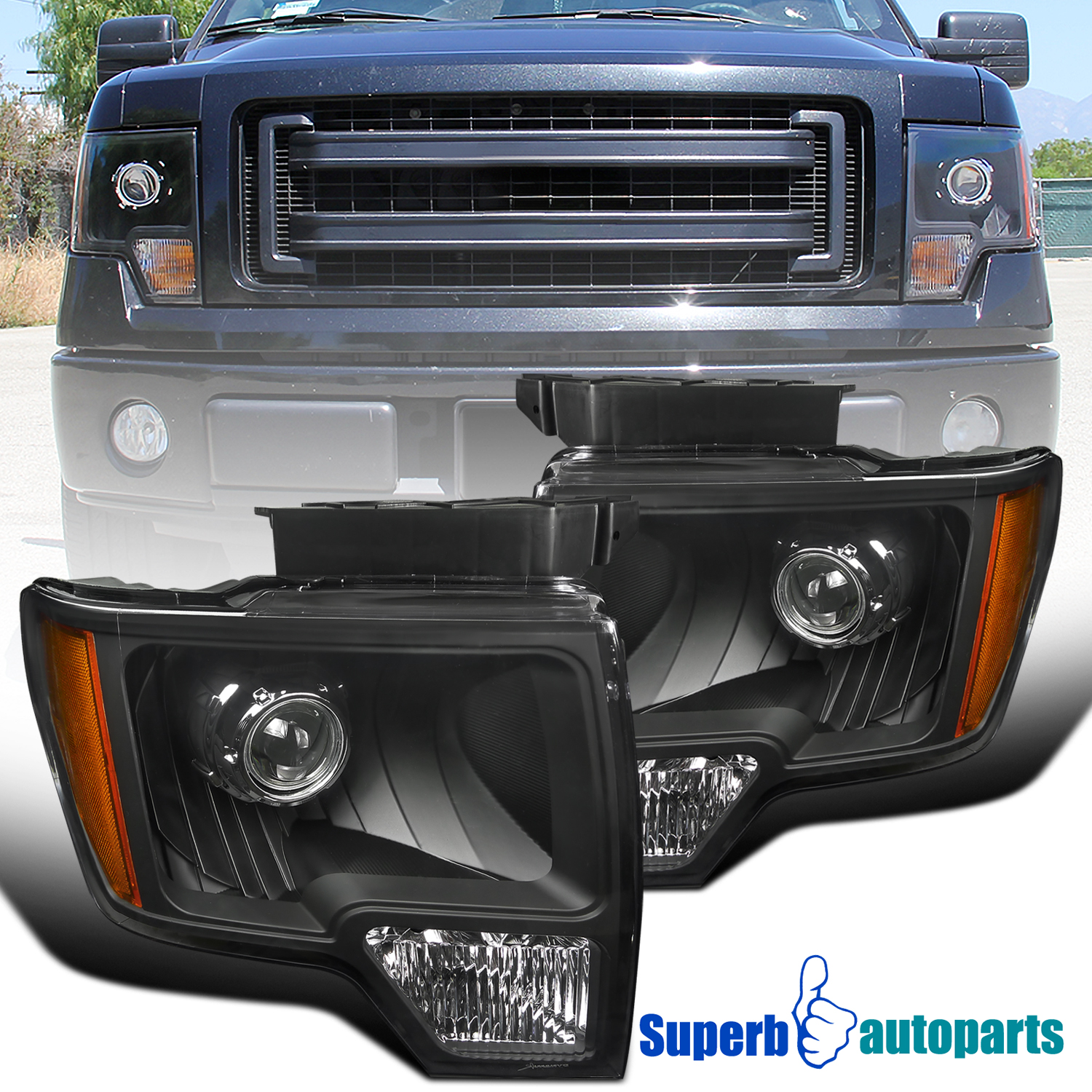 2014 F150 Headlights >> Details About For 2009 2014 Ford F150 Projector Headlights Head Lamps Black New Retro Style