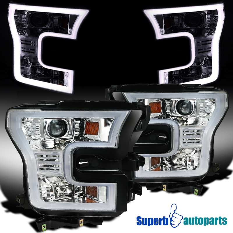 Details About For 2015 2017 Ford F150 Housing Led Light Bar Projector Headlights Head Lamps