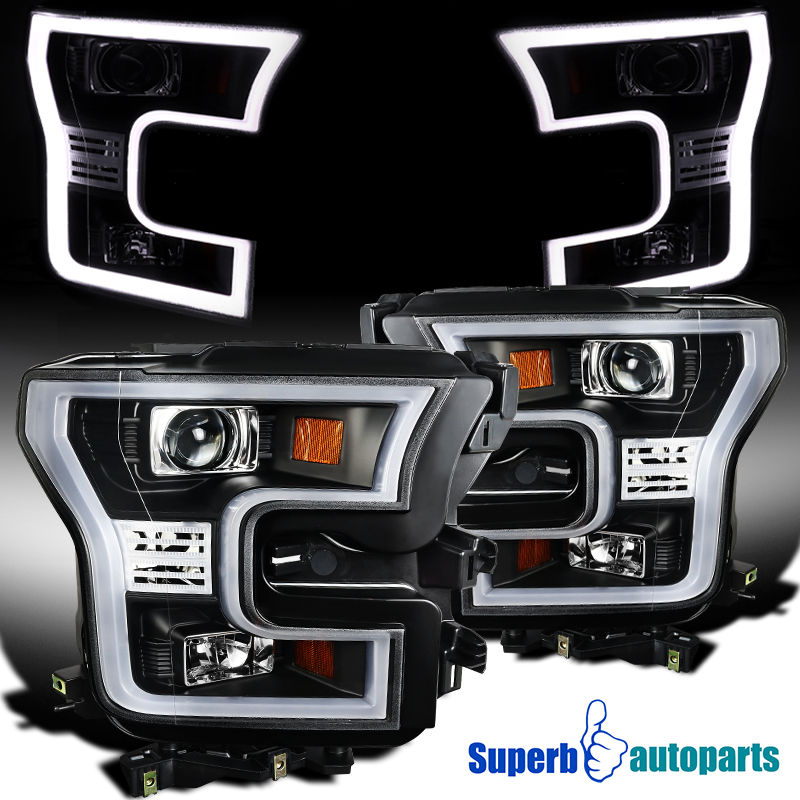 Details About For 2015 2017 Ford F150 Black Housing Led Light Bar Projector Headlights