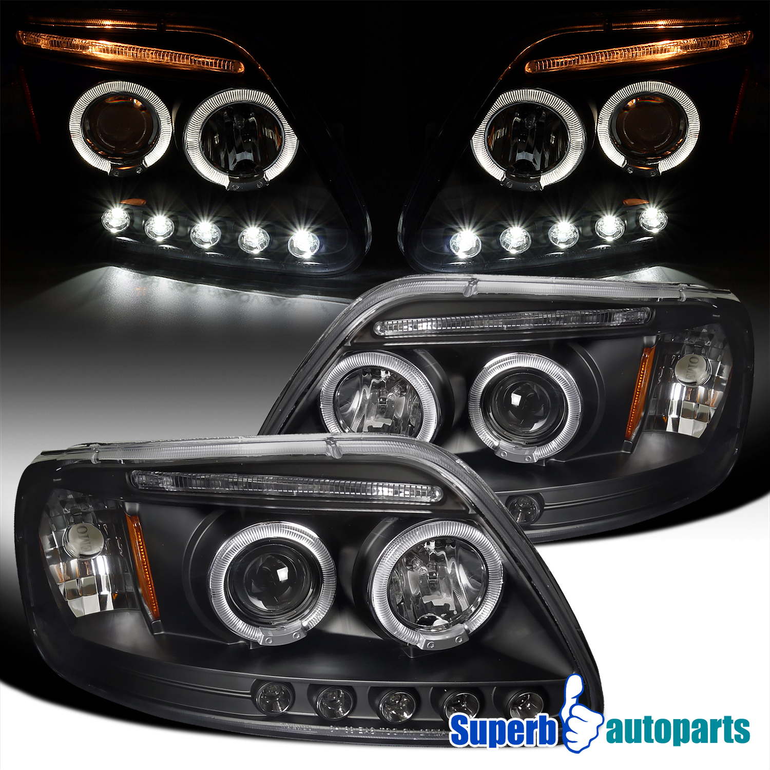 1997 2003 Ford F150 Expedition Halo Led Projector Headlights Turn