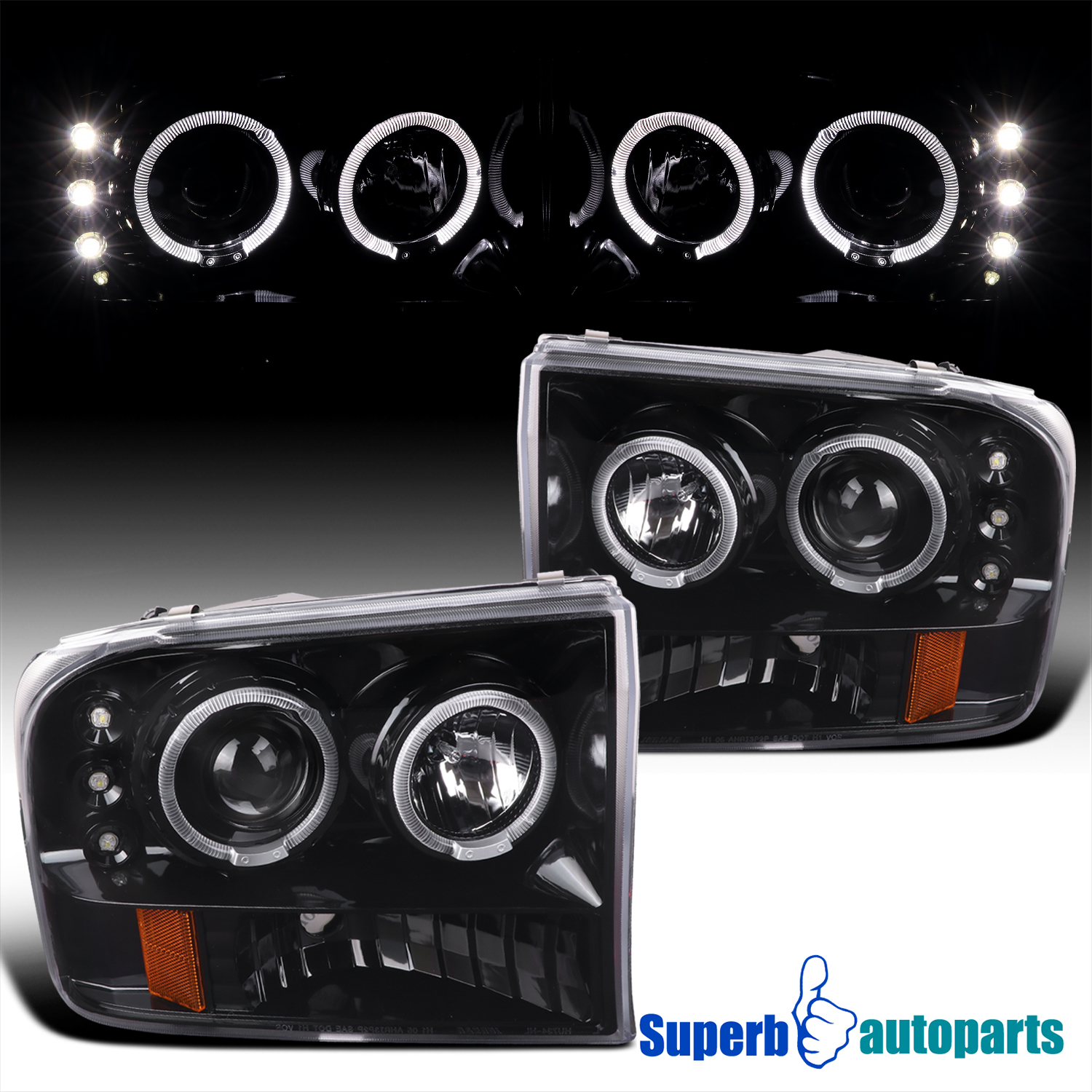 99 F350 Headlights >> Details About For 99 04 Ford F250 F350 Super Duty Shiny Black Led Halo Projector Headlights
