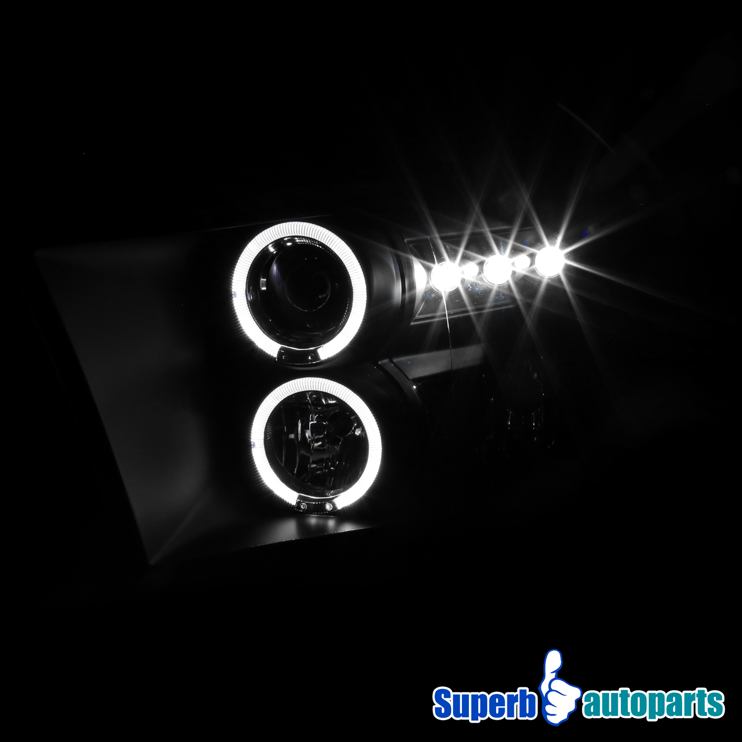 2009-2017 Dodge Ram 1500 2500 3500 Dual Halo LED Projector ...