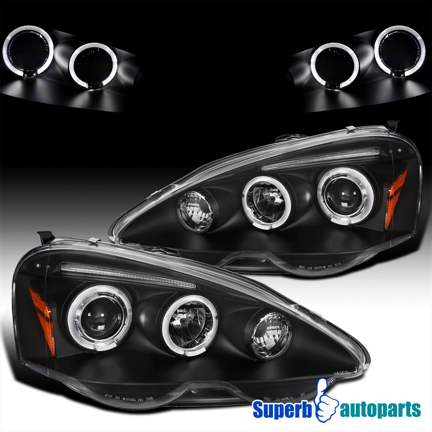For 2002-2004 Acura RSX LED Halo Projector Headlights