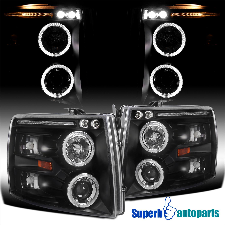 2007 2014 Chevy Silverado Led Halo Projector Headlights Lamps Black