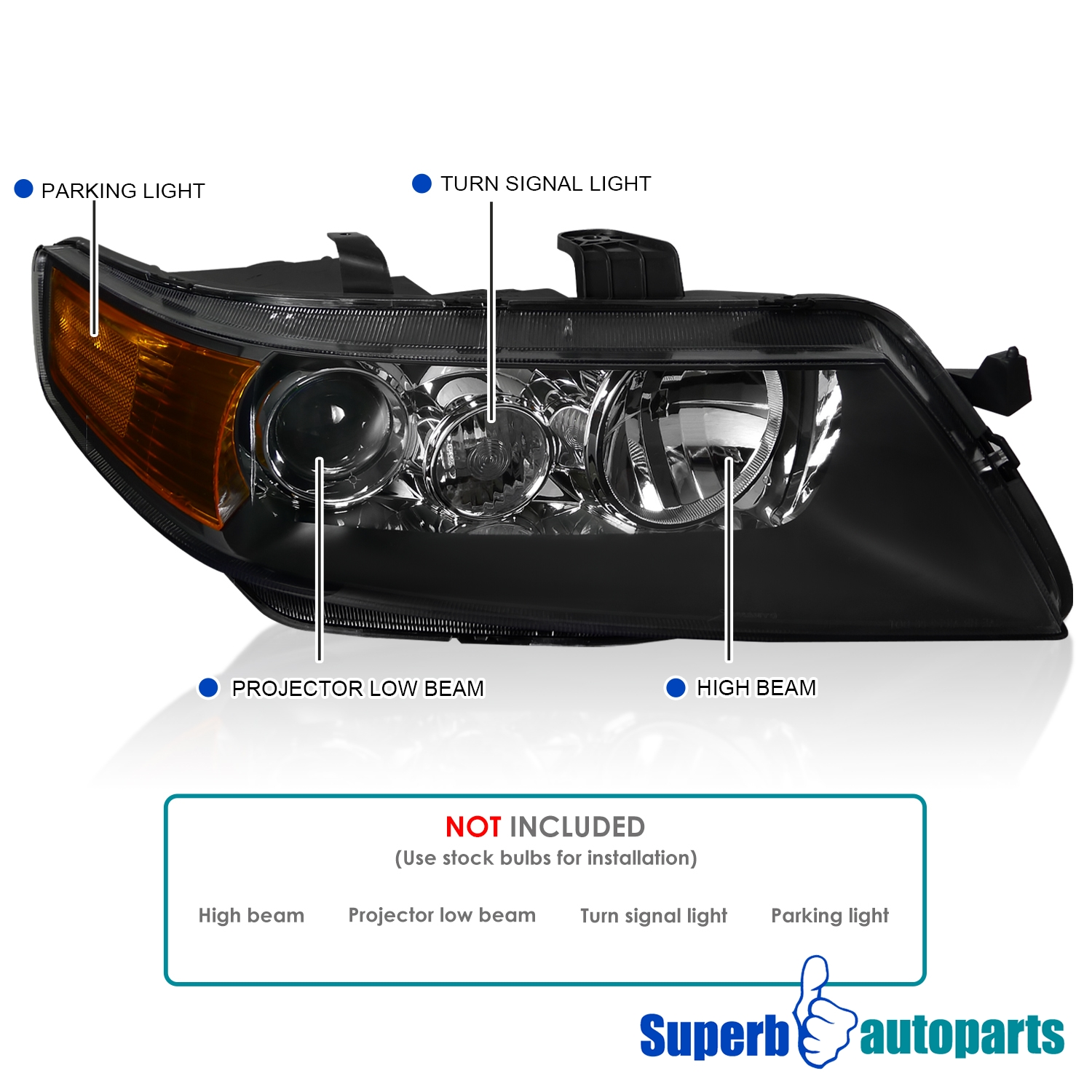 For 2004-2005 Acura TSX Sedan 4Dr Projector Headlights