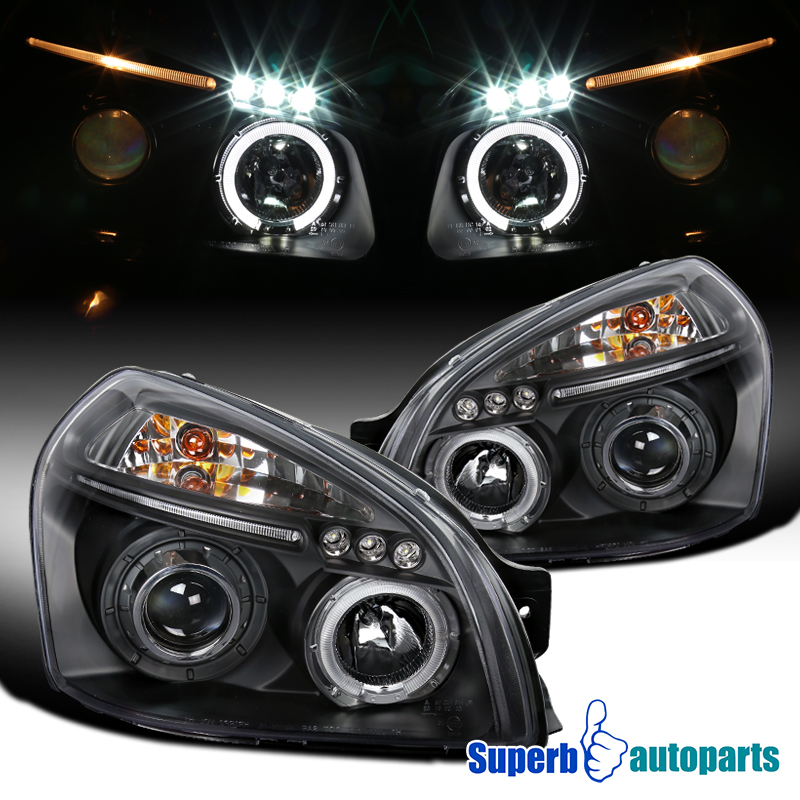 for 2005 2009 tucson halo led projector headlights black. Black Bedroom Furniture Sets. Home Design Ideas