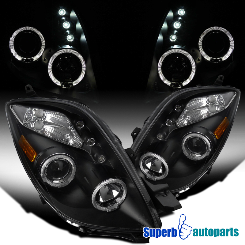 fit 2006-2008 Yaris Smoke Halo Projector LED Lamps Headlights Glossy Black Pair