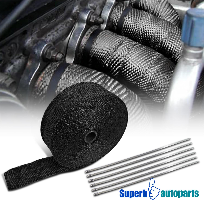 "BLACK PIPE Wrap Exhaust Turbo Heat Manifold Header 2/""x 50FT ROLL VERY HIGH TEMP"