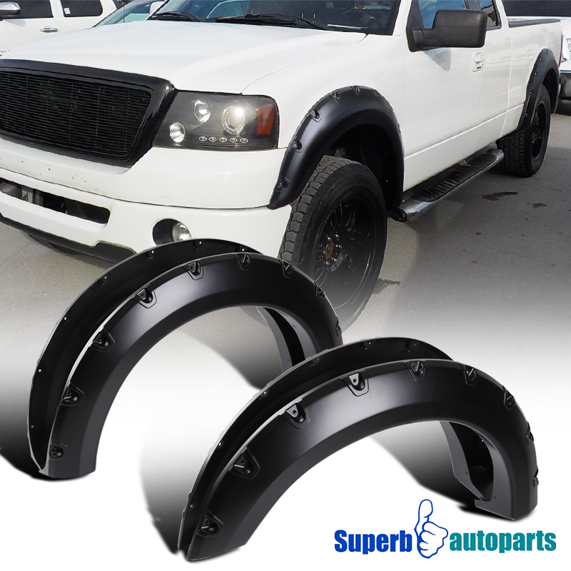 04-08 Ford F-150 Styleside 4PC Smooth BLACK Paintable Pocket Rivet Style FLARE