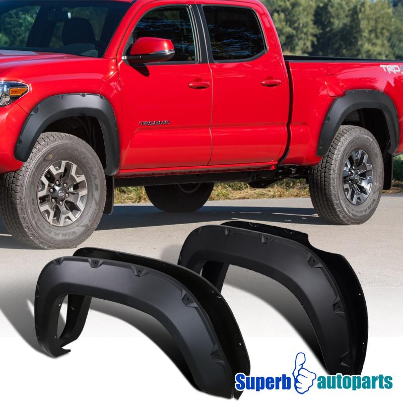 For 2016 2020 Toyota Tacoma 4pc Blacksporty Pocket Rivet Fender Flares Ebay