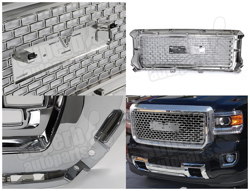 2014 2015 gmc sierra 1500 1500hd denali abs grille front hood grill chrome ebay. Black Bedroom Furniture Sets. Home Design Ideas