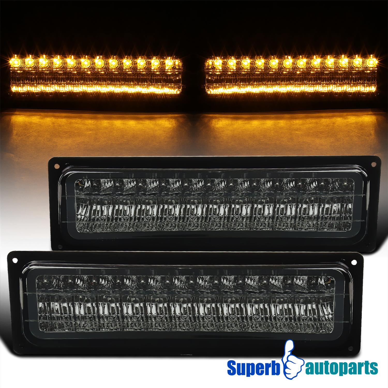 Fits Black 88-99 Chevy GMC C10 C//K Pickup Silverado Sierra Headlights Lamps
