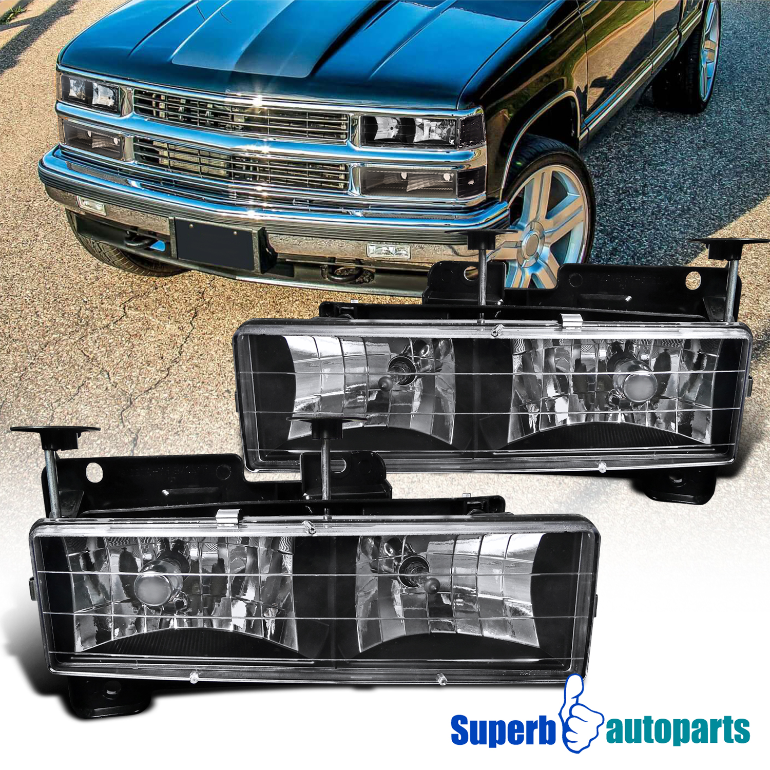 Details about For 88-98 Chevy GMC C10 CK 1500/2500/3500 94-99 Suburban  Headlights Lamps Black