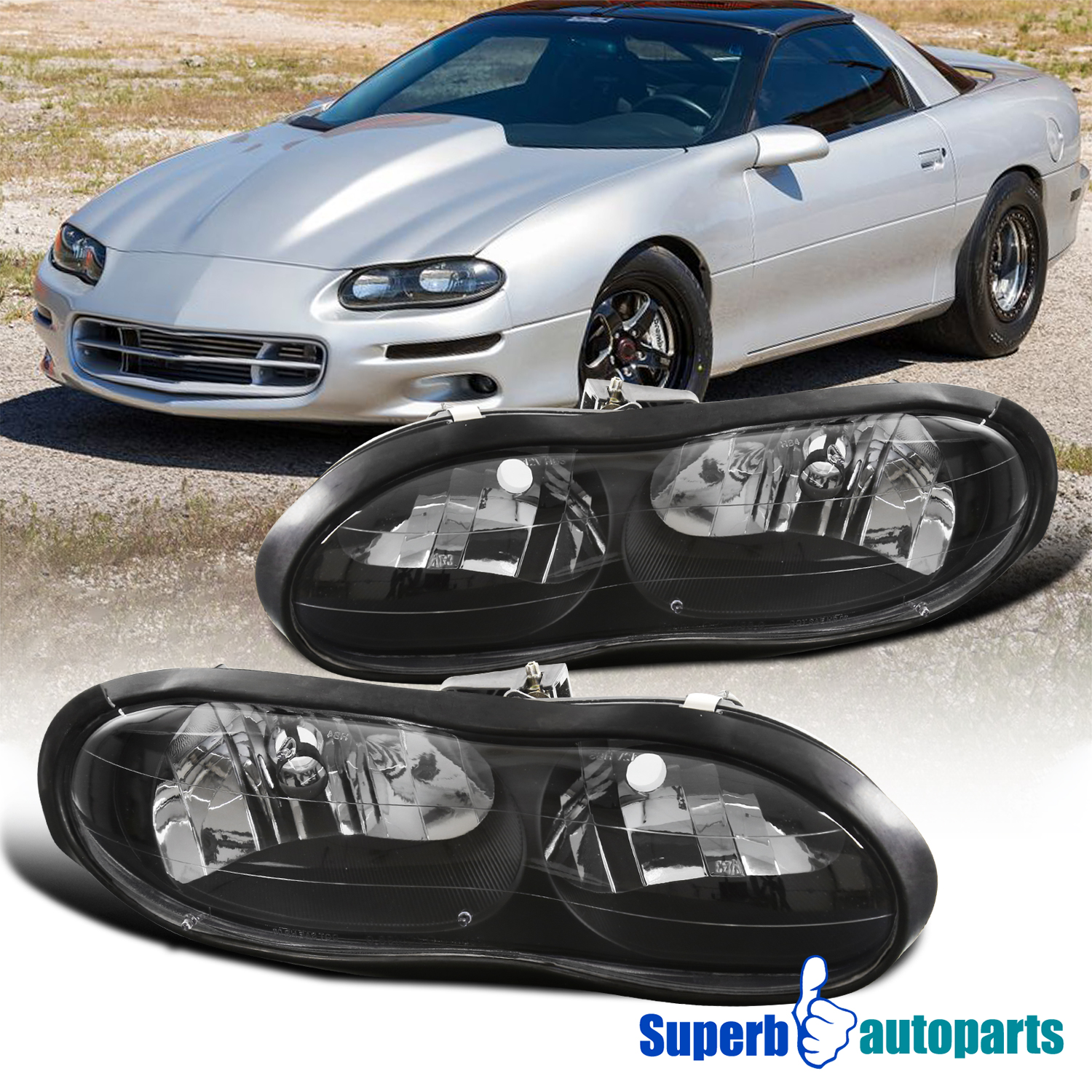 Details About For 1998 2002 Chevrolet Camaro Base Z28 Z28 Ss Black Headlights