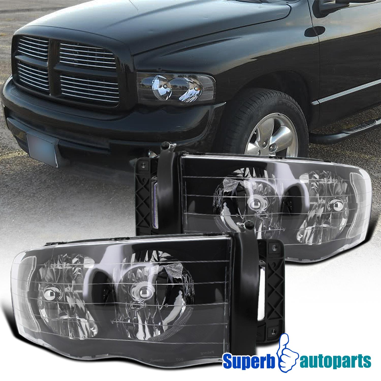 2002-2005 Dodge Ram 1500 2500 Crystal Headlight Head Lamps Black |