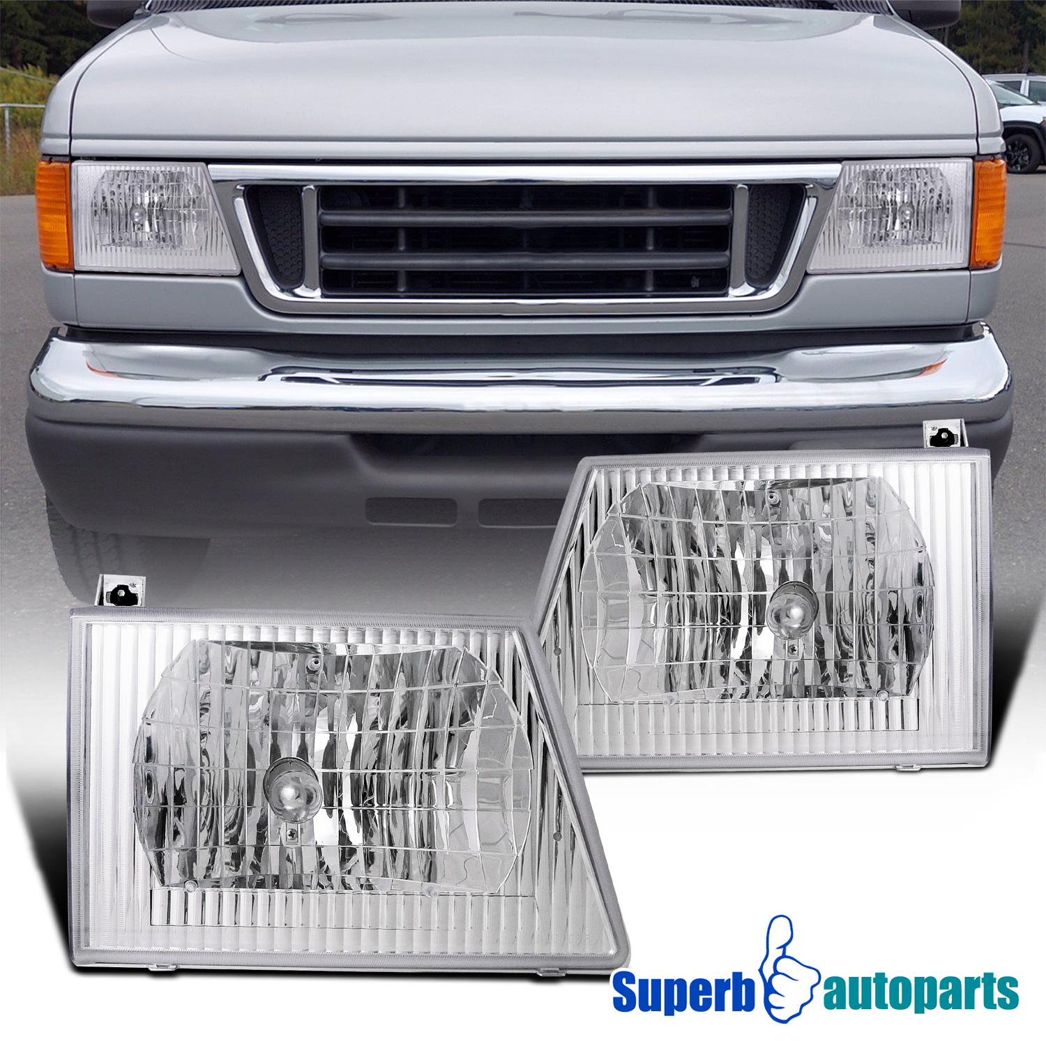 Details about For 1992-2006 Ford E150 E250 E350 E450 Econoline Van Euro  Headlights Lamps Clear