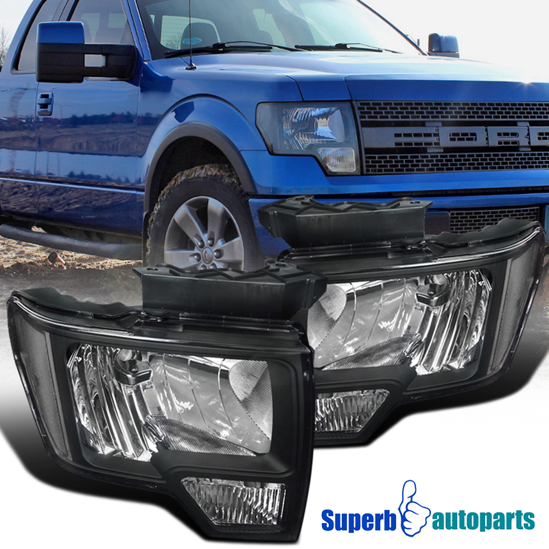 2014 F150 Headlights >> Details About For 2009 2014 Ford F150 Style Headlights Head Lamps Black Replacement