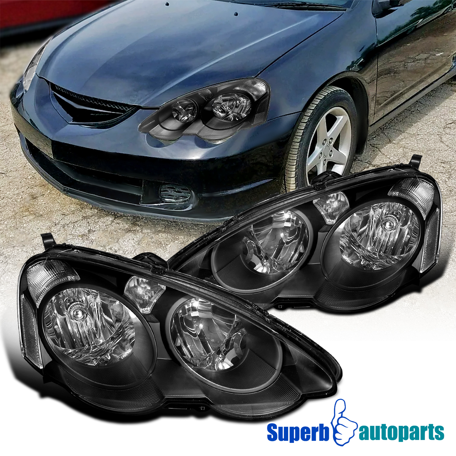 For 2002-2004 Acura RSX Crystal Headlights Head Lamps