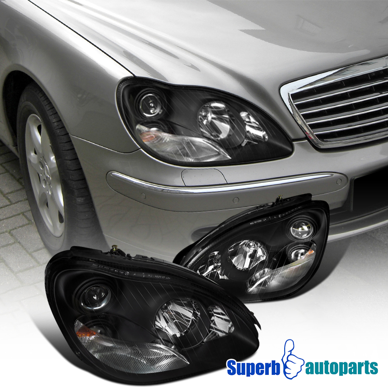 Details About 2000 2005 Mercedes Benz W220 S Class S500 S600 S55 Projector Headlights Black