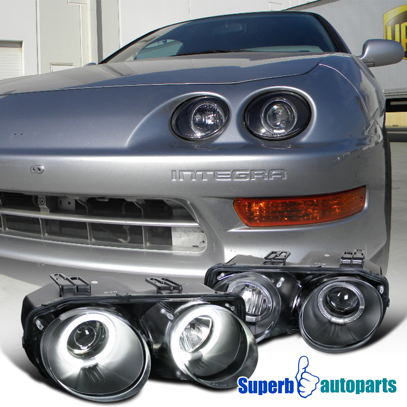 Acura Integra Headlights: 1998-2001 Acura Integra JDM Dual Halo Projector Headlights
