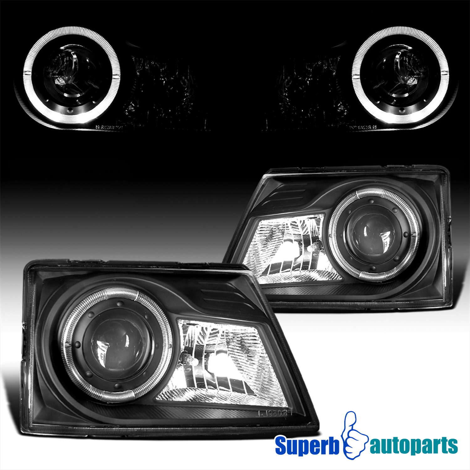 Fits 1998-2000 Ford Ranger Clear Halo Rim Projector Headlights+Corner Lamps Pair