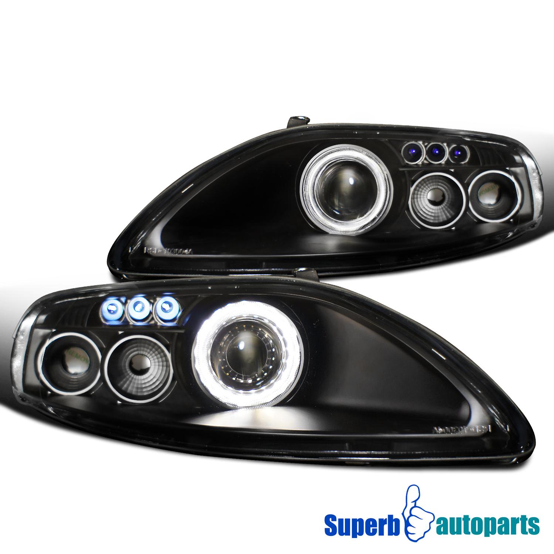 details about for 1992-1999 lexus sc300 sc400 led halo rim projector head  lights lamps black