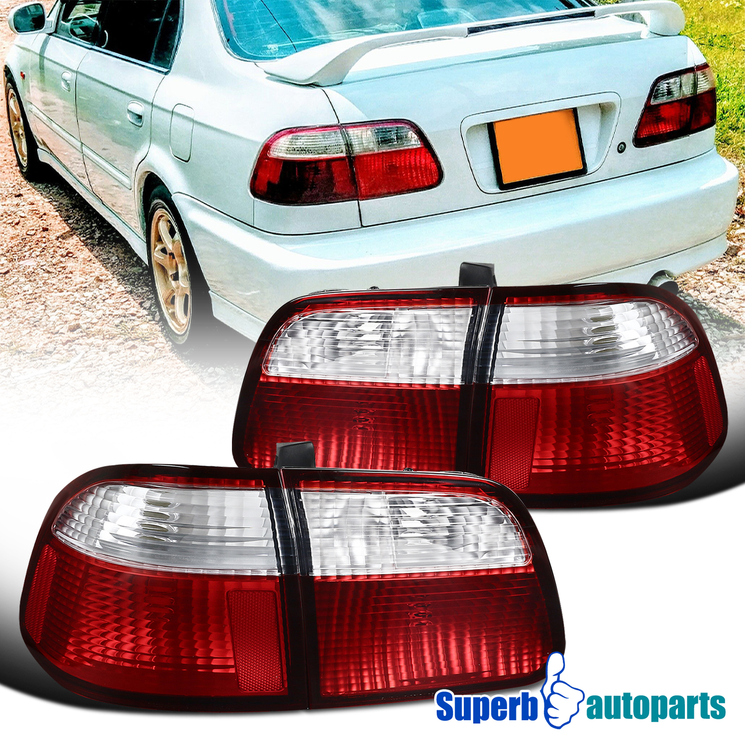 Details About For 1999 2000 Honda Civic Sedan Red Clear Tail Lights Brake Lamps Replacement