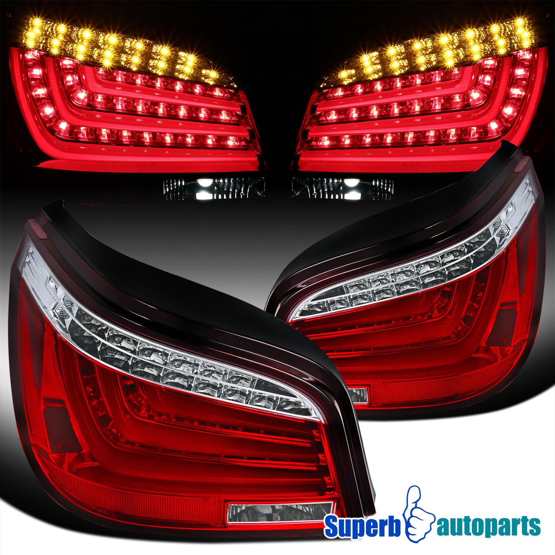 2004-2007 BMW E60 5-Series 525i//530i Red LED Light Bar Tail Brake Lamps Pair