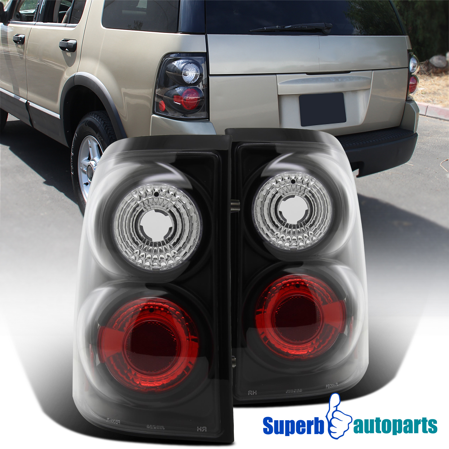 Details About For 2002 2005 Ford Explorer Replacement Tail Lamps Brake Lights Black