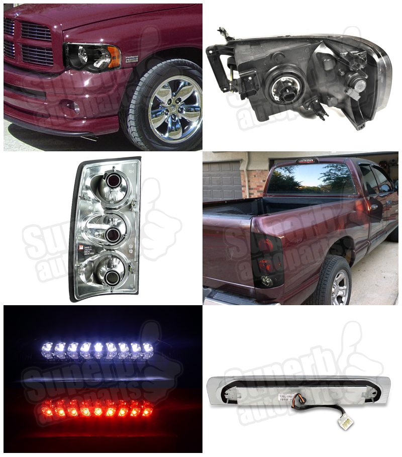 2002 2005 dodge ram 1500 headlight tail lamp glossy. Black Bedroom Furniture Sets. Home Design Ideas