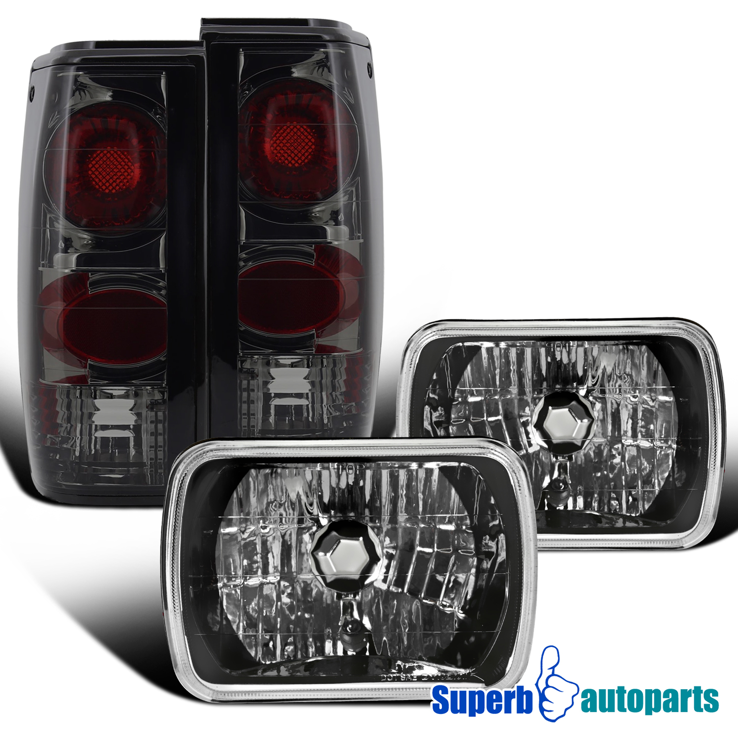 Details about For 82-93 Chevy S10/ 83-90 GMC S15 Sonoma Headlights  Black+Tail Lamp Smoke