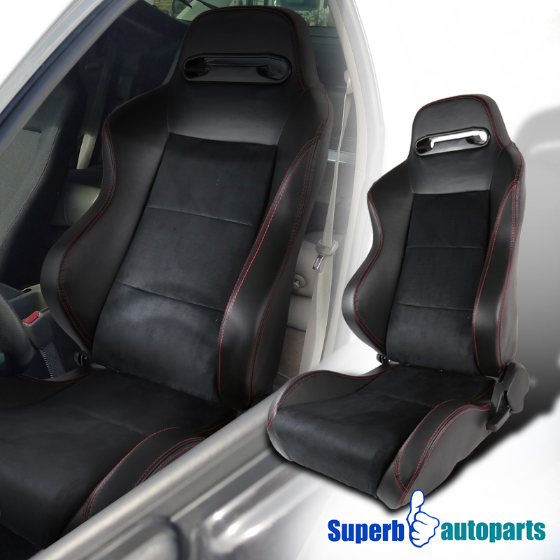 Passenger Side JDM Black Fully Reclinable PVC Leather Red Stitch Racing Seat