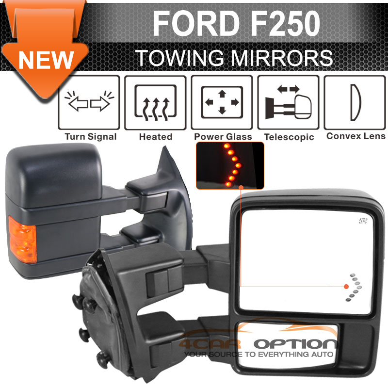 fit 03 07 f250 side towing mirror power heated turn signal. Black Bedroom Furniture Sets. Home Design Ideas