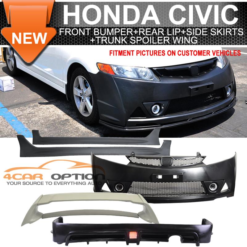 For 06-11 Civic Mugen RR PP Front Bumper + Side Skirt