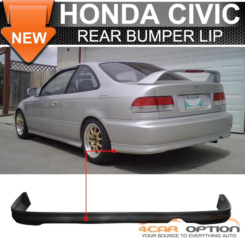 Fits 99-00 Honda Civic 1999-2000 2 4Dr Rear Bumper Lip Spoiler ...