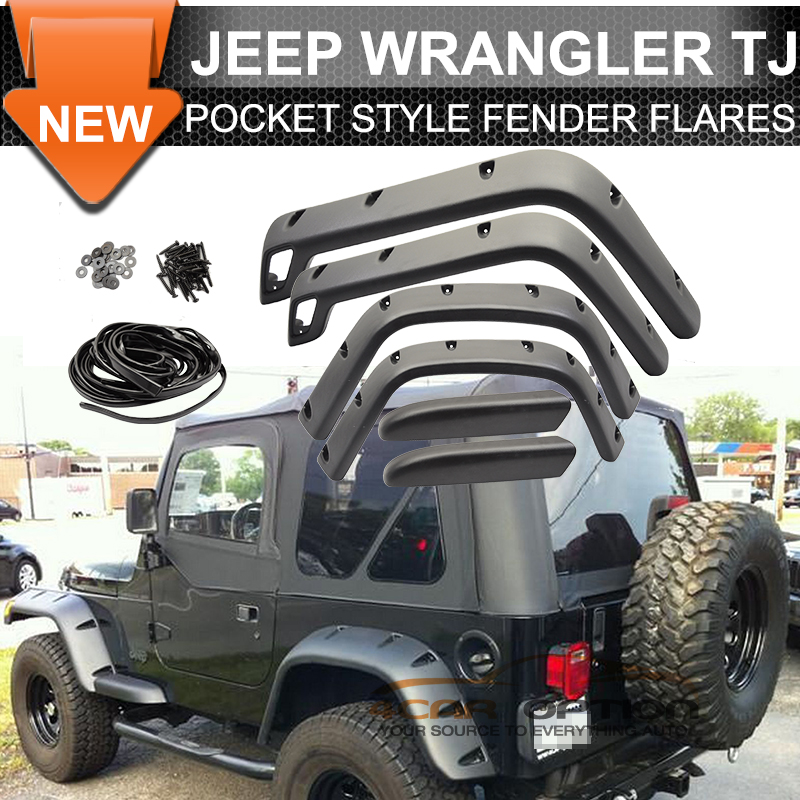 1999 Jeep Wrangler Fenders: Fits 97-06 Jeep Wrangler TJ Pocket Style Fender Flares