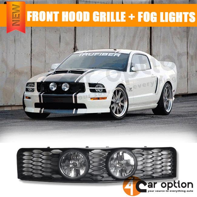 05 08 09 Ford Mustang V8 Mesh Style Front Hood Grille Grill Black Fog Lights