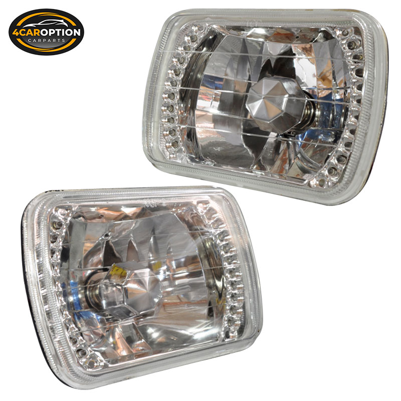 """7/"""" X 6/"""" Square Clear Diamond Cut Upgrade Replacement Head Lights Lamps H6054"""